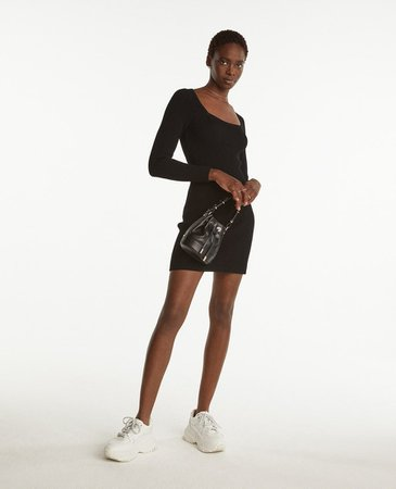 Short knit black dress with square neck | The Kooples