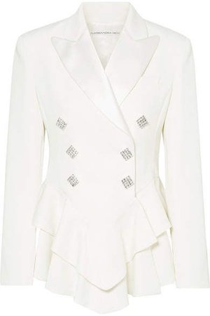 Alessandra Rich - Crystal-embellished Satin-trimmed Wool-crepe Peplum Blazer - Cream ($1995)