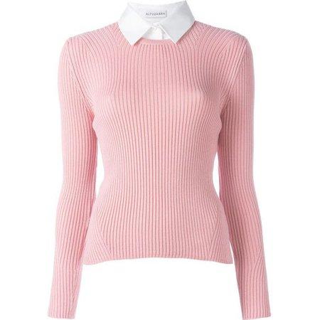 pink collar shirt