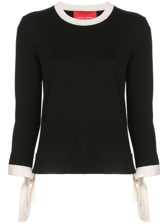 jersey black sweater with bow on the cuffs