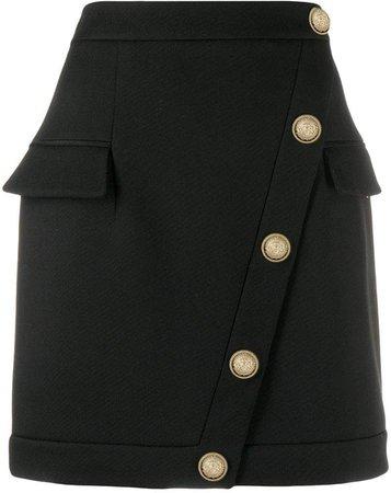 button embellished short skirt