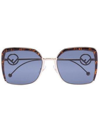 Fendi Eyewear Ff Logo-Frame Square Sunglasses FF0294S Brown | Farfetch