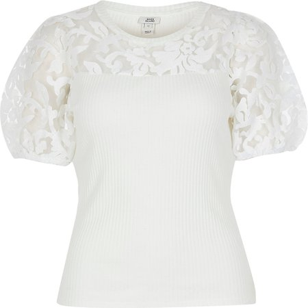 White short sleeve organza puff sleeve top | River Island