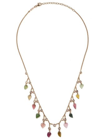 Jacquie Aiche 14kt Rose Gold Leaf Shaker Rainbow Tourmaline And Diamond Necklace - Farfetch