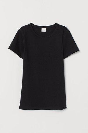 Ribbed Cotton T-shirt - Black