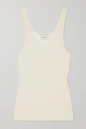 Ribbed Modal And Cotton-blend Jersey Tank - Ivory