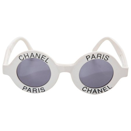 Chanel Runway Logo Round White Sunglasses With Tinted Lenses, Spring 1993 For Sale at 1stdibs