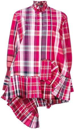 asymmetric pleated plaid shirt