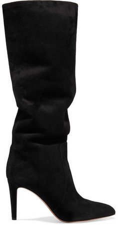 85 Suede Knee Boots - Black
