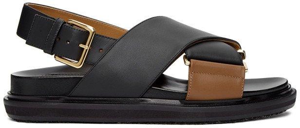 Black and Tan Fussbett Sandals