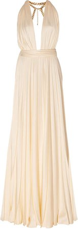 Embellished Gathered Cady Gown Size: 0