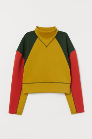 Color-block Scuba-look Top - Mustard yellow/color-block - Ladies | H&M US