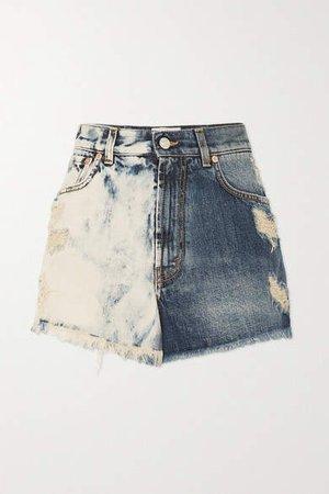 Distressed Tie-dyed Denim Shorts - Blue