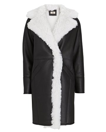 Yves Salomon Shearling-Trimmed Leather Coat | INTERMIX®