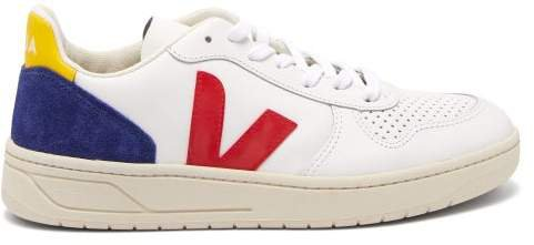 V 10 Low Top Leather Trainers - Womens - White Navy