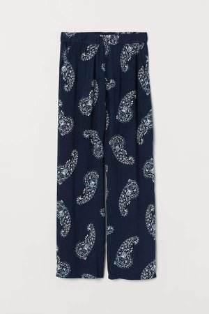 Wide-cut Pull-on Pants - Blue