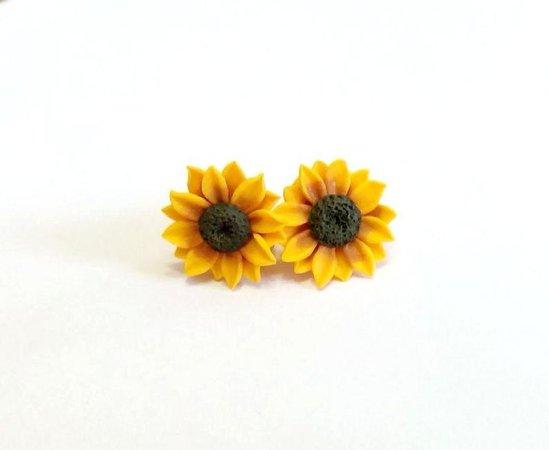 Sunflower Stud Earrings Summer Flower Flower Earrings | Etsy