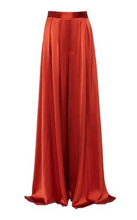 Pleated Silk-Satin Wide-Leg Pants by Brandon Maxwell | Moda Operandi