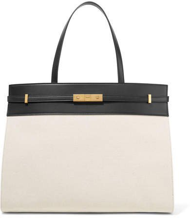 Manhattan Medium Leather-trimmed Canvas Tote - Off-white