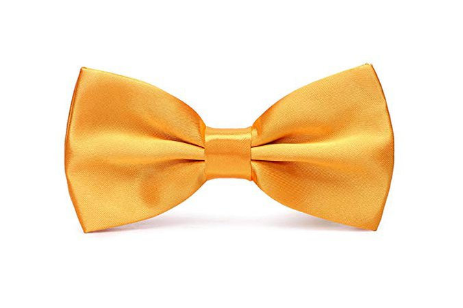 Mens Pre-Tied Satin Bowtie Adjustable Length Solid Color Fashion Patterned bow tie(Yellow) at Amazon Men's Clothing store: