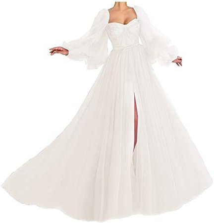 Amazon.com: Puffy Sleeve Prom Dress Long Sweetheart Tulle Ball Gown: Clothing