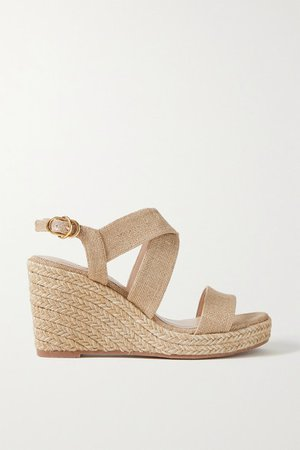 Ellette Metallic Canvas Espadrille Wedge Sandals - Beige