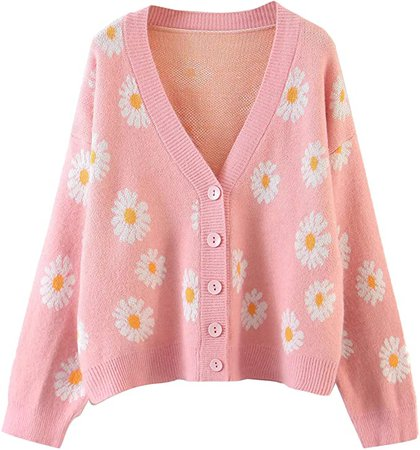 Women's Button Down Sweater Knitted V-Neck Long Sleeve Floral Print Casual Loose Cardigan (Pink, One Size, one_Size) at Amazon Women's Clothing store
