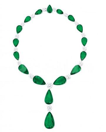 Graff, Emerald pear shape and diamond necklace