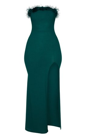 Emerald Green Feather Trim Bandeau Maxi Dress - Christmas Party Dresses - Christmas Shop - Shop By.. | PrettyLittleThing USA