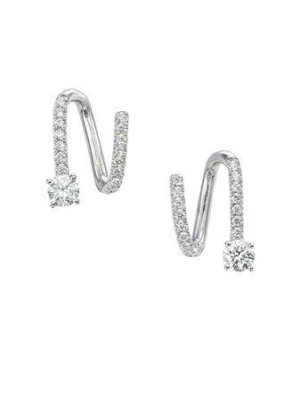 Anita Ko 18Kt White Gold Diamond Spiral Earrings Ss20 | Farfetch.Com