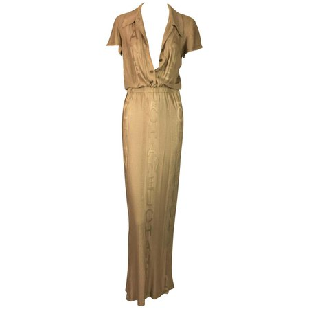 S/S 1998 Chanel Runway Liquid Gold Logo Monogram Long Dress Gown For Sale at 1stDibs