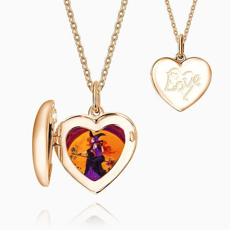 Halloween Witch Heart Locket Necklace Rose Gold Plated