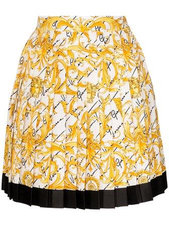 Versace Pleated baroque-print Silk Skirt - Farfetch