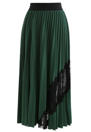 Lace Inserted Pleated Maxi Skirt in Green - Retro, Indie and Unique Fashion