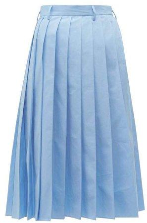 Knife Pleated Cotton Poplin Midi Skirt - Womens - Blue