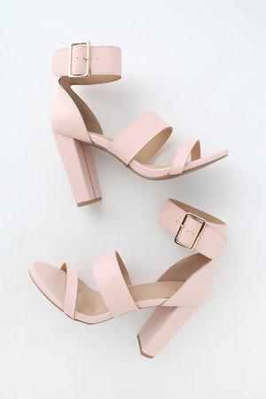 Cute Blush Pink Heeled Sandals - Ankle-Strap Heels - Pink Heels
