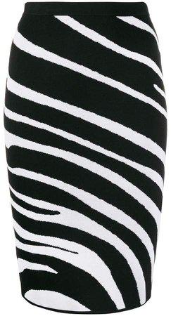 zebra pattern knitted pencil skirt