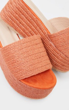 Orange Espadrille Flatform Sandals | Shoes | PrettyLittleThing