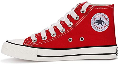 Amazon.com | QIMAOO Unisex Canvas High Tops Sneakers, Fashion Casual Lace up Canvas Shoes Trainers for Women Men | Fashion Sneakers
