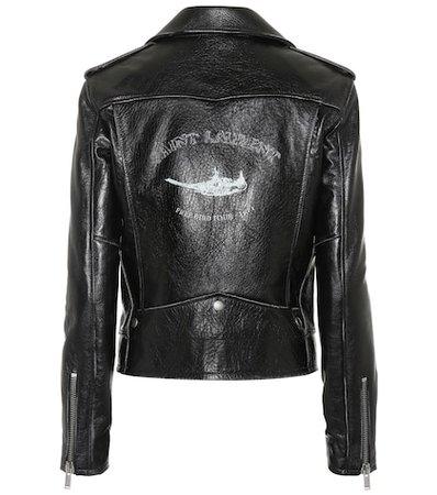 Bird printed leather jacket