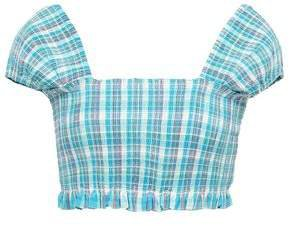 Cropped Shirred Checked Cotton Top