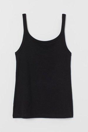 Cotton Tank Top - Black - Ladies | H&M US