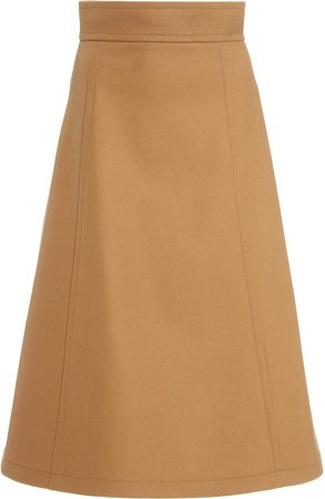 Carolina Herrera A Line Wool Knee-Length Skirt