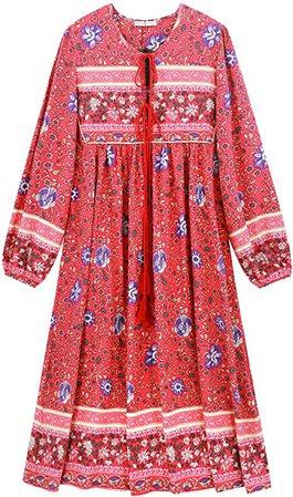 Amazon.com: R.Vivimos Women's Long Sleeve Floral Print Retro V Neck Tassel Bohemian Midi Dresses (Small, Watermelon Red): Clothing