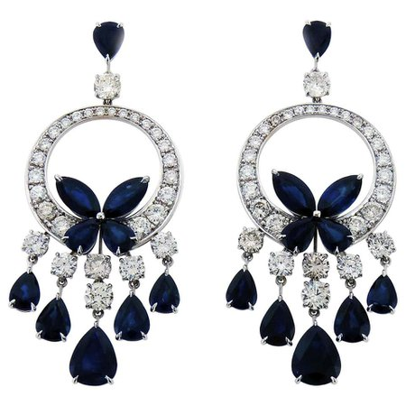 Diamond and Sapphire Chandelier Butterfly Earrings For Sale at 1stDibs