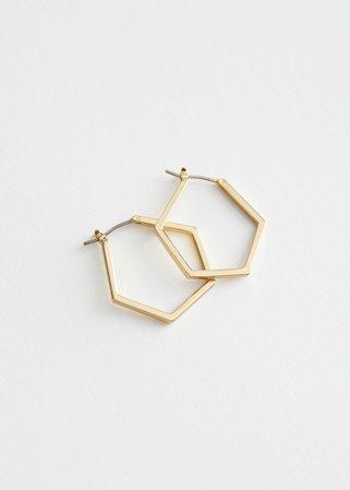Hexagon Hoop Earrings - Gold - Hoops - & Other Stories US
