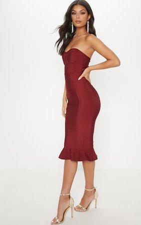 Dark Red Frill Hem Bandage Midi Dress   PrettyLittleThing