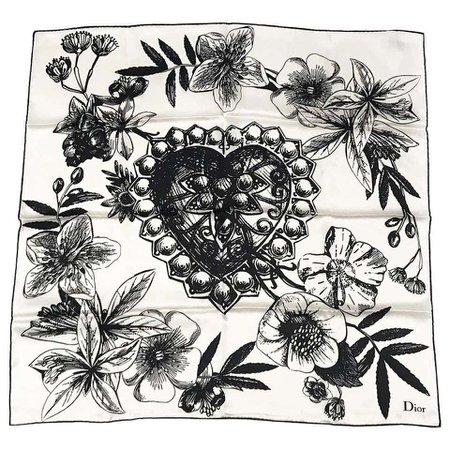 Christian Dior Floral Illustration Silk Scarf For Sale at 1stDibs