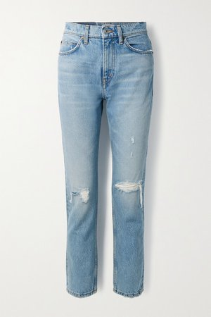 '70s Distressed High-rise Straight-leg Jeans - Light denim