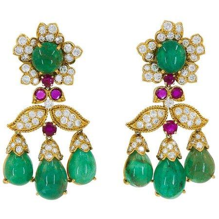 David Webb Emerald Diamond Ruby Chandelier Earrings For Sale at 1stDibs